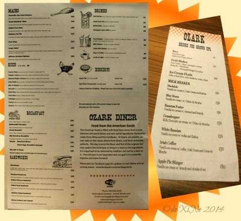 Baguio Ozark Diner menu 2014