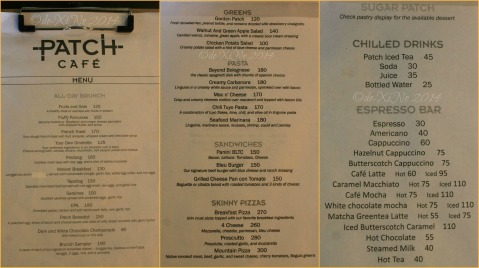 Baguio Patch Cafe menu at Bloomfield Hotel