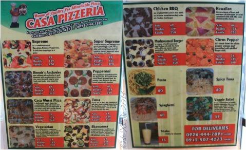 Baguio Casa Pizzeria menu 2014