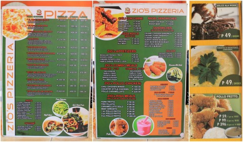 Baguio Zios Pizza Pizzeria menu 2014
