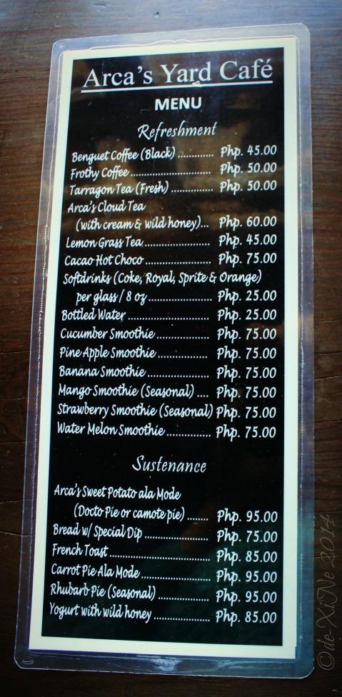 Baguio 777 Tiptop Arca's Yard 2014 menu