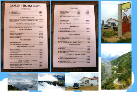 Baguio Sto Tomas Cafe in the Sky menu and the sights around
