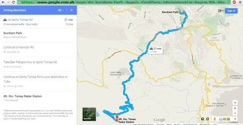 2014-12-16 Metro Baguio Tuba Benguet Santo Tomas Mount Cabuyao Cafe in the Sky Radar Station Sitio La Presa Forevermore Map by Google Maps