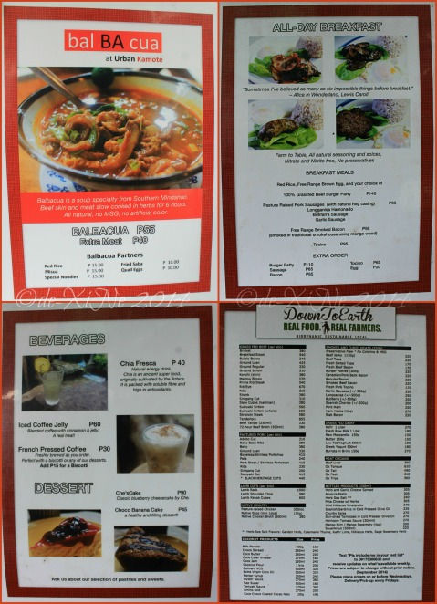 Baguio Urban Kamote at Ili-likha Artists' Center menu 2014