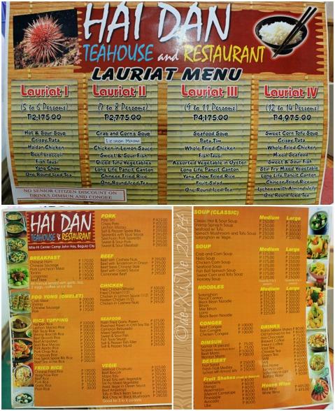Baguio Hai Dan menu 2014