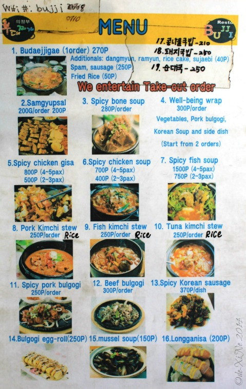 Baguio Bujji Korean Restaurant menu 2014