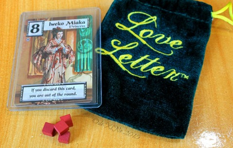 Baguio Game and Grub Boardgame Cafe 2015 Love Letter game and the princess card and four tokens of affection