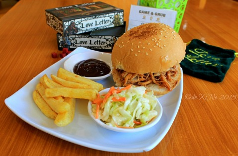 Baguio Game and Grub Boardgame Cafe 2015 pulled pork BBQ sandwich