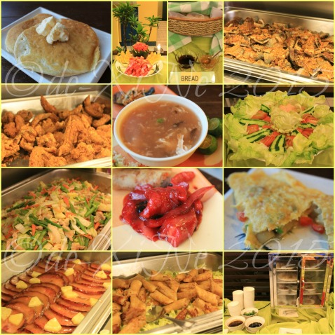 Baguio Buffet Republic restaurant 2015 The BREAKFAST selection. Pancake, fruits, bread with jam and marmalade, bangus belly, fried chicken, shantong soup, veggie salad, pancit, a viand like tocino, omelette, roast ham a la Christmas ham, lumpia, siomai and chicken feet