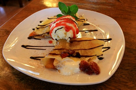 Baguio Pine Country Steaks and Waffles restaurant strawberry and peach crepe