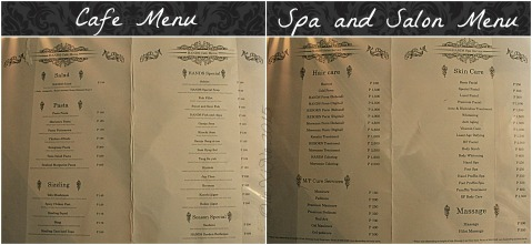 Baguio HANDS Aesthetic Spa Salon Cafe 2015 cafe menu  and spa salon menu