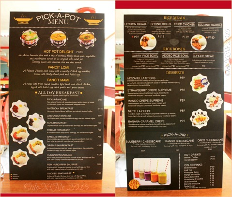 Baguio Pick-A-Pot Asian Fusion restaurant menu