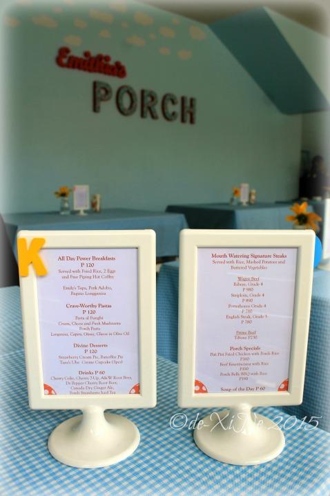 Baguio Emithia's Porch Diner menu