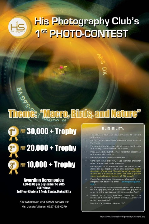 His Photography Club First Photo Contest 2015