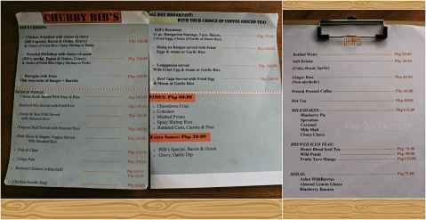 2015-04-17 Baguio Chubby Bibs Restaurant menu