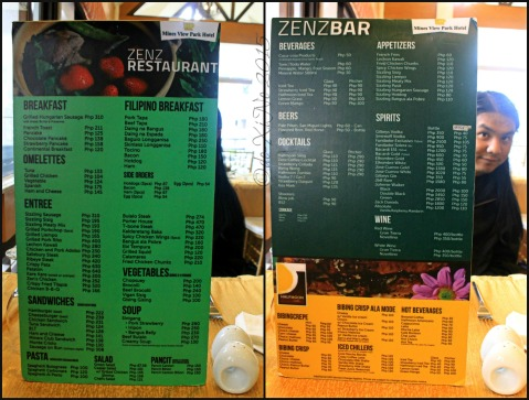 2015-04-25 Baguio Zenz Restaurant at Mines View Park Hotel menu