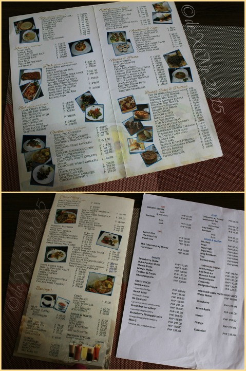 Baguio Shevaun Restaurant menu 2015