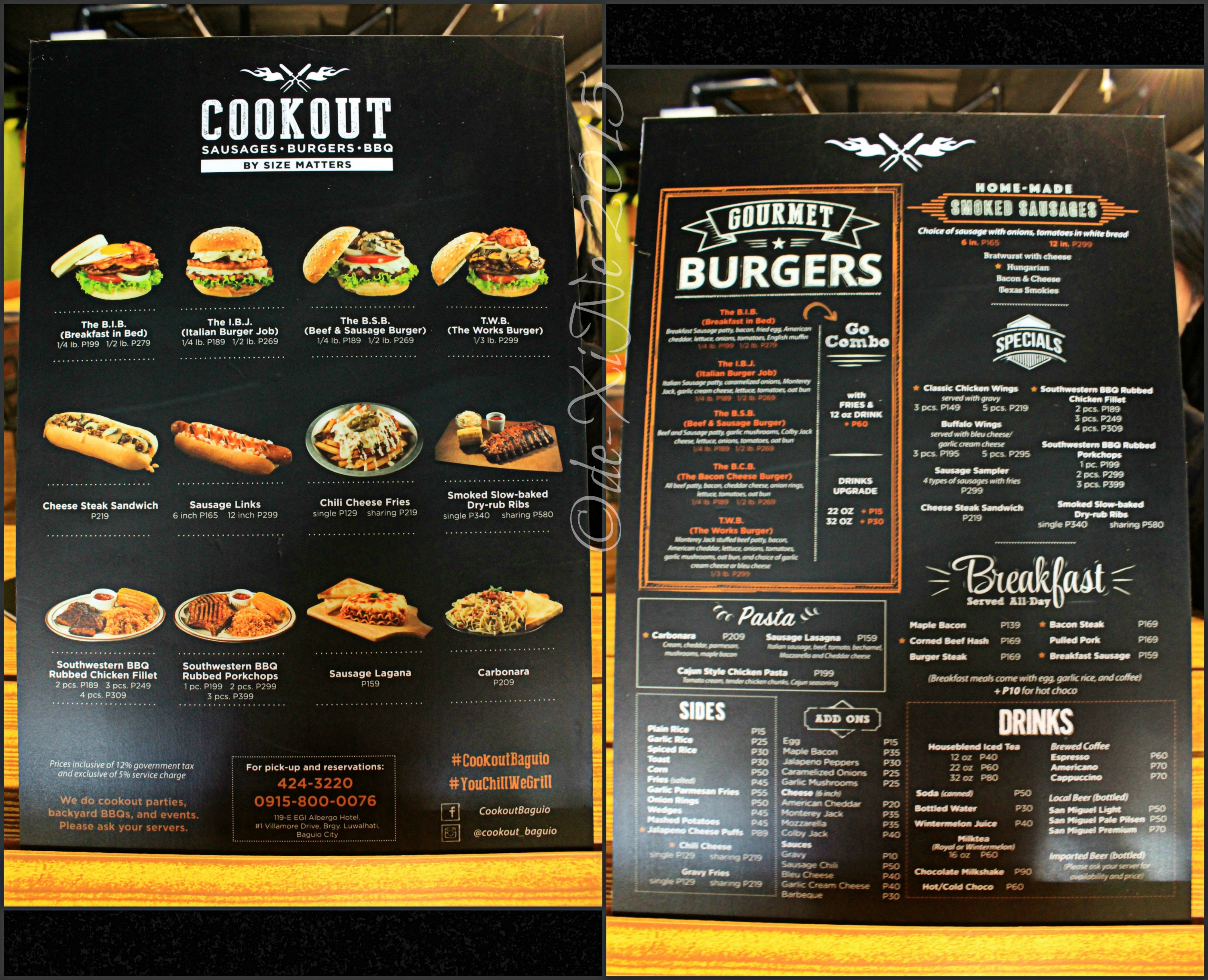 baguio cookout by size matters menu | x marks the spot for good
