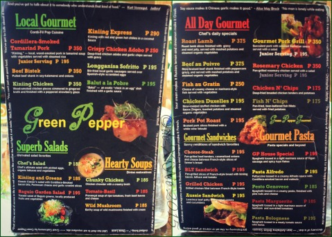 Baguio Green Pepper Gourmet Stop 2015 menu