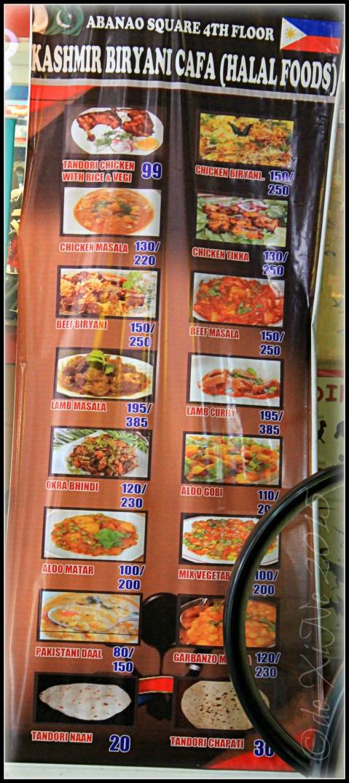 2015-06-10 Baguio Kashmir Biryani Cafa tarp menu