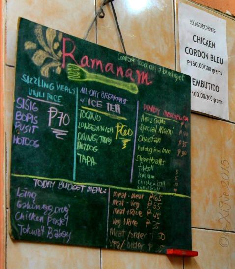 Baguio Ramanam eatery 2015 menu