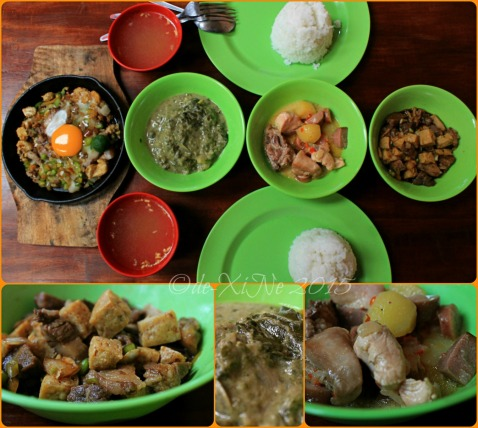 The lunch lineup (sizzling sisig, tokwa't baboy, chicken pastel, laing) at Baguio Ramanam eatery 2015
