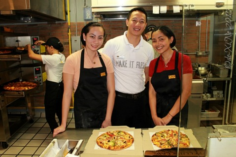 Baguio Yellow Cab Pizza Co SM Baguio branch Queen Ane and X behind the counter after making our own pizza