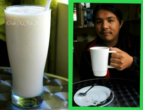 Baguio Sensational Blendz drinks guyabano shake and a big cup of hot choco