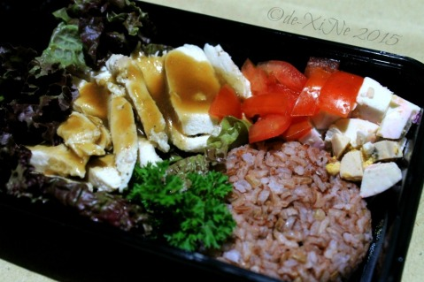 Baguio Gourmet Portions 2015 chicken adobo flakes on brown rice with red egg and tomatoes