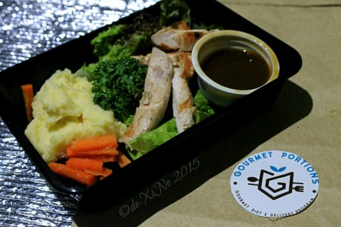 Baguio Gourmet Portions Grilled chicken teriyaki on mashed potatoes served with glazed carrots