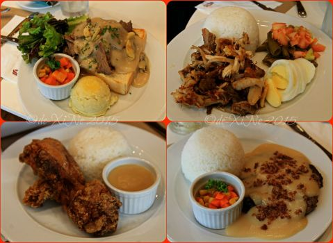 Baguio Pancake House SM Baguio branch main course dishes:  Hot roast beef, adobo sulipan, classic pan chicken, special salisbury steak,