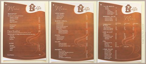 Baguio Cafe de Angelo Coffee Bar in St. Patrick Village menu 2015