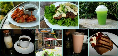 Baguio Cafe de Angelo Coffee Bar in St. Patrick Village bacon rolls, steak that salad, basil cooler, barako coffee, hot chocolate, rum cake a la mode 2015