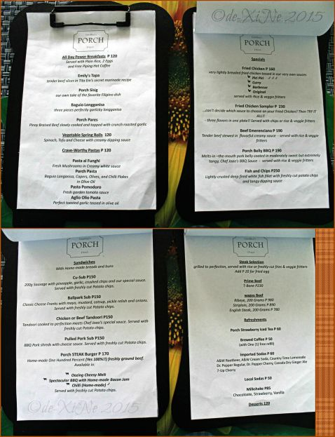 Baguio Emithias Porch Diner menu