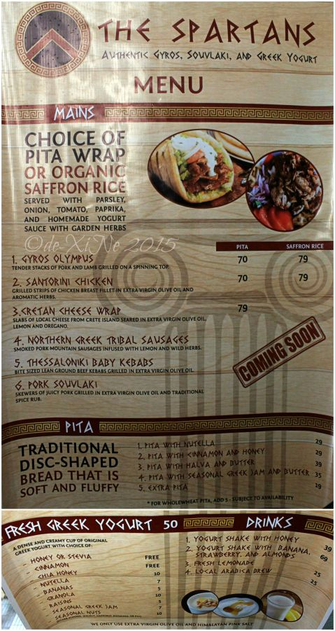 Baguio The Spartans authentic gyros souvlaki and Greek yogurt menu