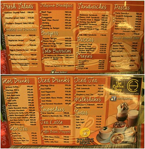 Baguio The Coffee Shop at Citylight Hotel menu