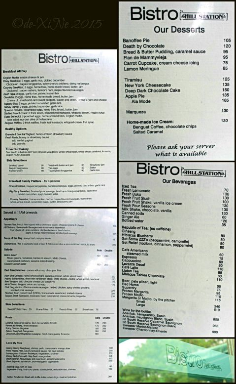 Baguio Hill Station Bistro menu