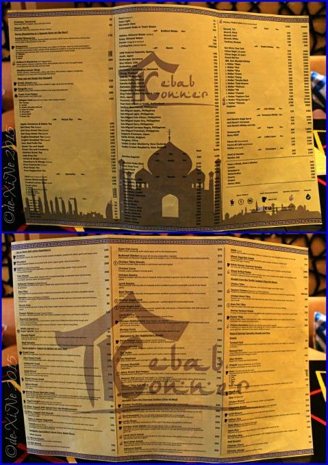 Baguio Kebab Konner menu