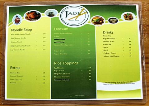 Baguio Jade Noodle House menu