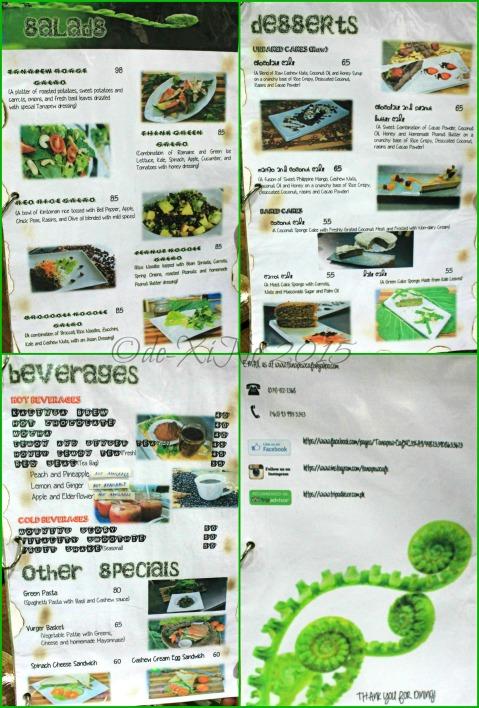 Baguio Tanapew Restaurant menu
