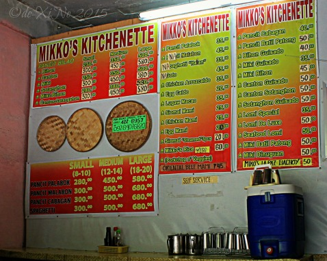 2015-10-12 Baguio Mikko's Kitchenette menu