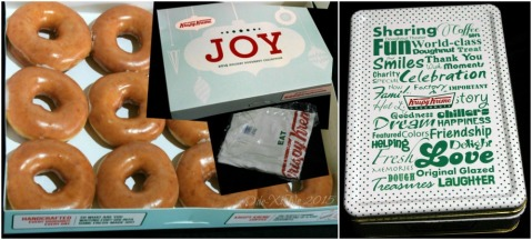 Baguio Krispy Kreme preopening party takeaway - a dozen original glazed doughtnuts, a Krispy Kreme shirt and a Krispy Kreme tin can 2015