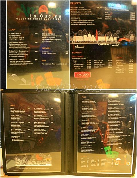 2015-10-28 Baguio Amare La Cucina menu