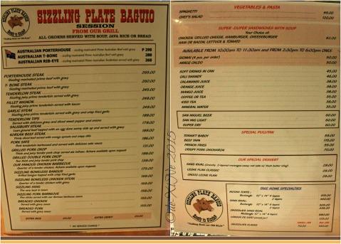 2015-11-04 Baguio Sizzling Plate menu