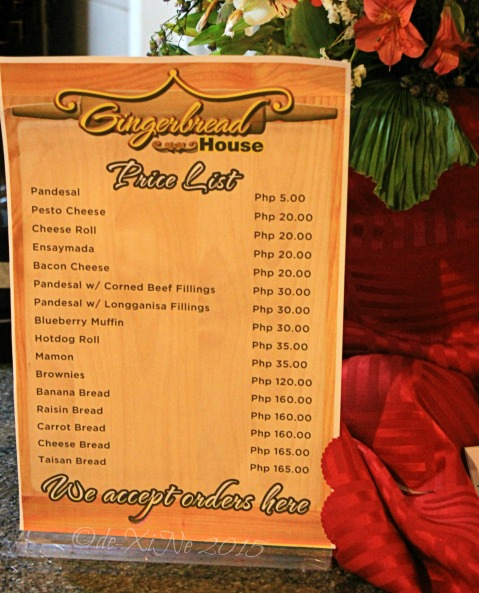 2015-12-02 Baguio Newtown Plaza Gingerbread House menu