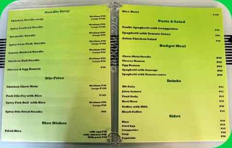 2015-12-22 Baguio Noodle King Eatery menu
