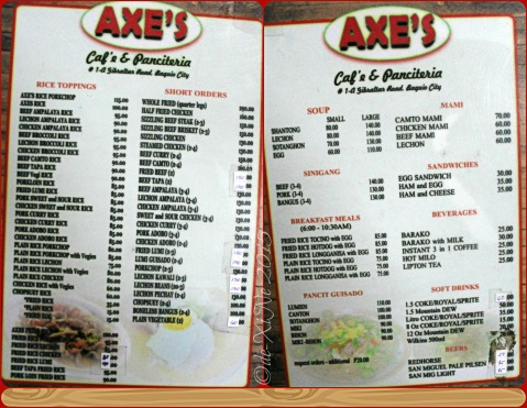 2015-12-30 Baguio Axe's Cafe and Panciteria menu
