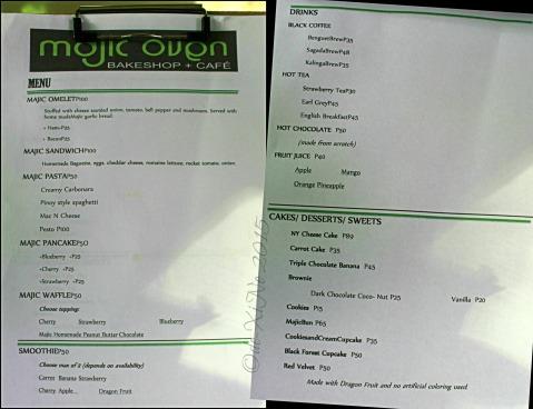 2015-20-05 Baguio Majic Oven menu