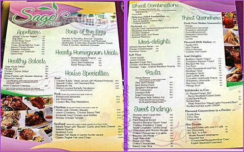 2016-01-03 Baguio Sage Restaurant menu