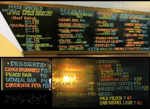 2016-01-10 Baguio Habibis Grill Shawarma and Kebab menu